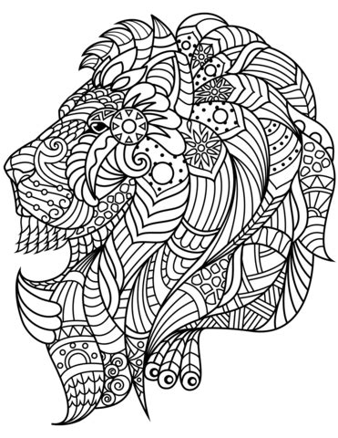 lion head zentangle coloring page  printable