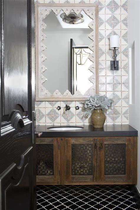 Moroccan Bathroom Floor Tiles by Moroccan Bathroom With Black Arabesque Tiles