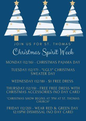Each day of the week has a themes. Christmas Spirit Week Begins! | St. Thomas the Apostle School