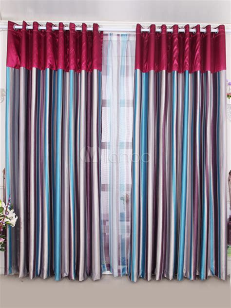 multi color striped polyester popular blackout curtains