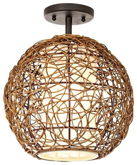 asian organic contemporary rattan ceiling fixture modern