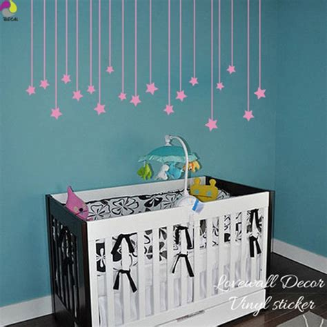The cutest nursery wall decor for $50 or less. Cartoon Hanging Stars Wall Sticker Baby Nursery Kids Room Large Size Star Wall Decal Child Room ...