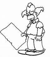 Coloring Krusty Clown Simpsons Printable Ecoloringpage Simpson sketch template