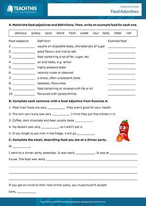 food drink esl activities worksheets games