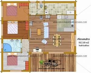 Prix Kit Maison Bois : plan maison bois plain pied chambres 33847 ~ Premium-room.com Idées de Décoration