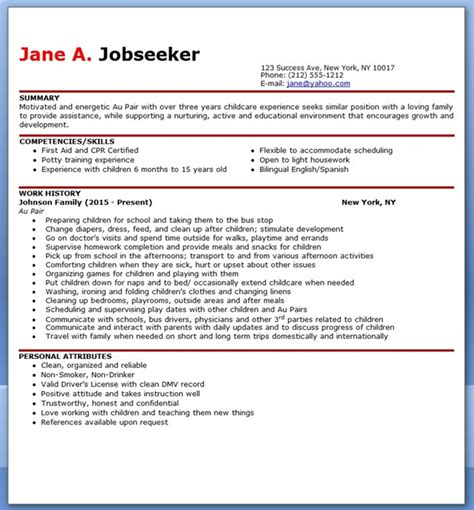 Resume Seek Au by Au Pair Resume Sle Creative Resume Design Templates