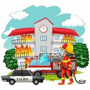 Fireman Working Background Vector