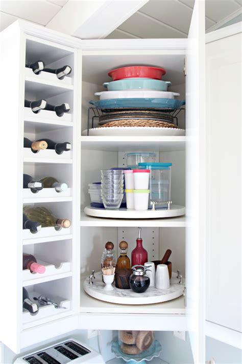 iheart organizing organized kitchen corner cabinet   diy lazy susan