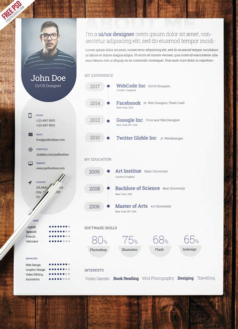 Professional Resume Free Psd by Professional Resume Template Free Psd Psdfreebies