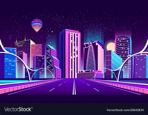 background  night city  neon lights vector image