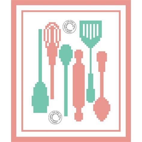 grille de cuisine grille gratuite de point de croix ustensiles de cuisine