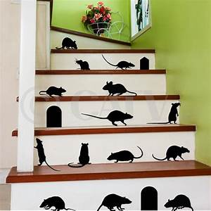 Rats set of vinyl wall decals with doors self adhesive