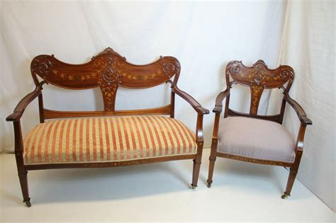 Settee And Chair Set by Edwardian Mahogany Inlaid Settee And Matching