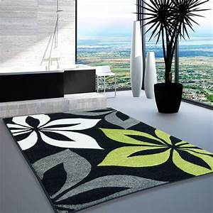 tapis design moderne salon modele fleur gris vert creme With tapis salon gris design