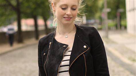 Herbstliche Basics schwarzer Rock Streifen Pullover Biker Jacke - Advance Your Style