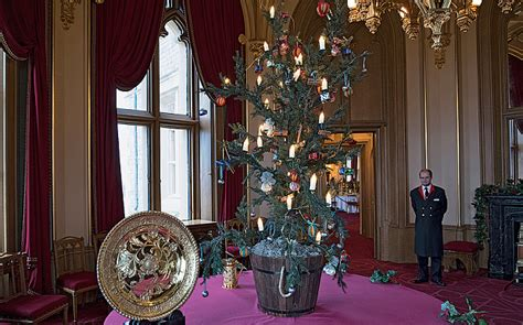regally decorated  windsor castle  christmas