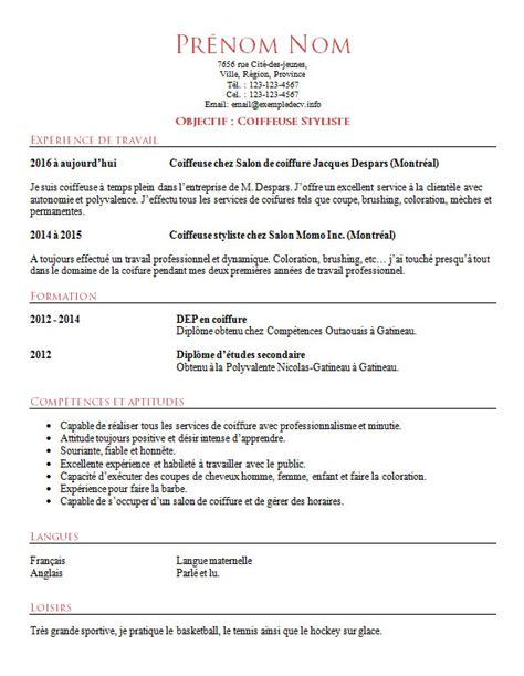 Exemple De Cv De Coiffeur Ou Coiffeuse  Exemple De Cv Info