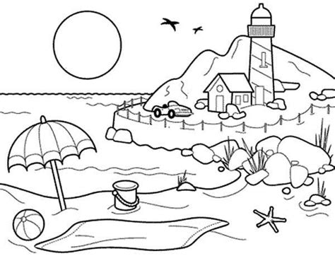 landscapes beach landscapes  lighthouse coloring