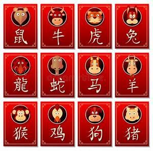 Sternzeichen Mit Aszendenten Berechnen : chinesische sternzeichen mit kalligraphiehieroglyphen vektor abbildung illustration von ~ Themetempest.com Abrechnung