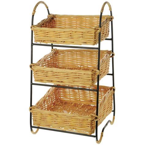 black wire countertop  tier wicker basket stand
