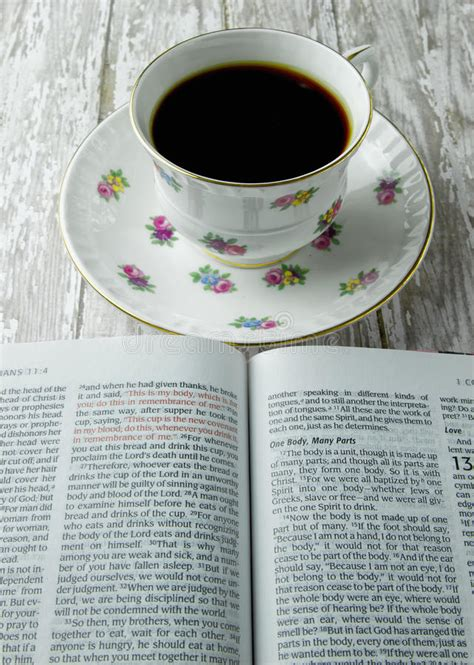 open bible   cup  coffee  tea stock photo image