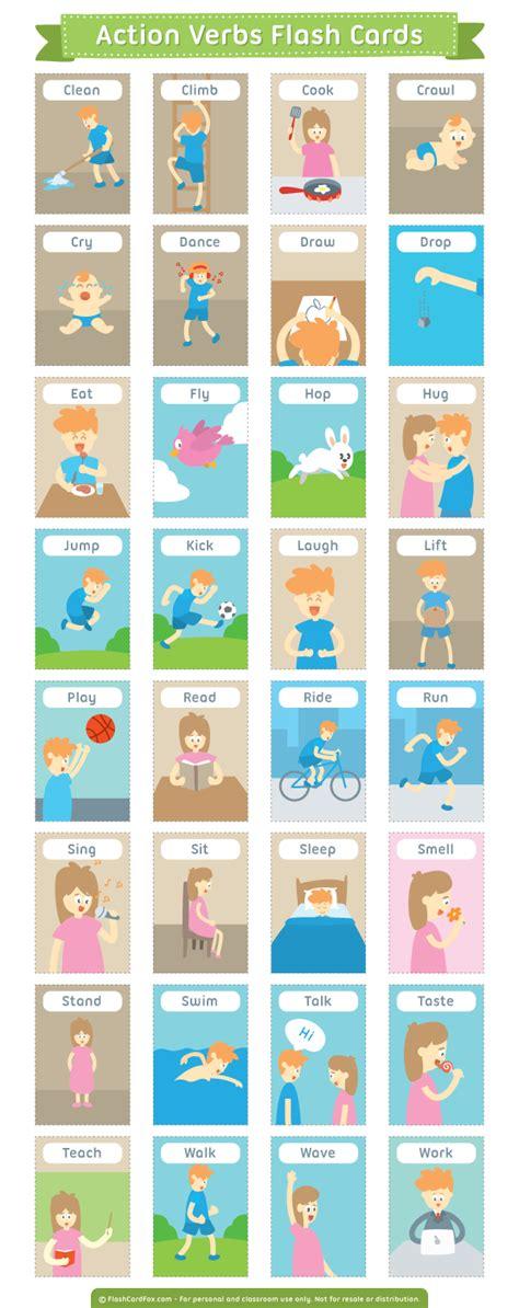 Esl ebook packs for kids : Printable Action Verbs Flash Cards