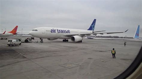 air transat depart montreal air transat plane about to take from montreal airport