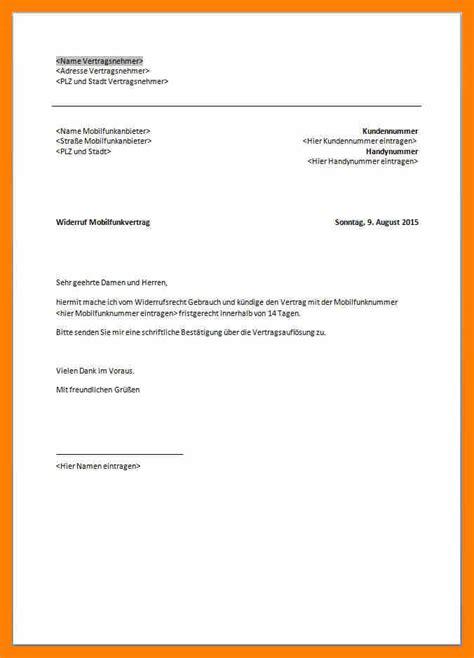 ord ausserordentliche kuendigung kundigung handyvertrag vorlage
