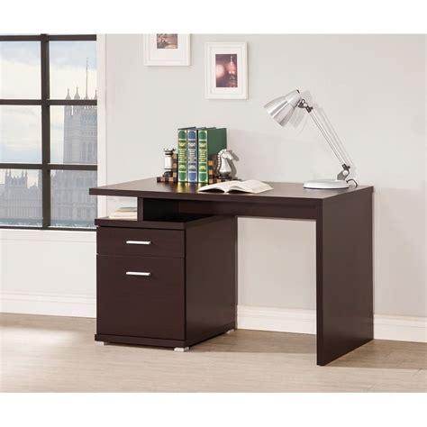 coaster contemporary desk with cabinet in cappuccino 800109