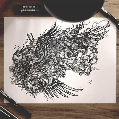 surreal hybrid drawings bloom  burst  sketchbook