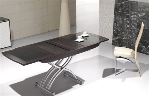 table cuisine modulable table basse relevable lea wenge et verre noir tables