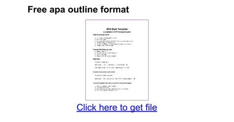 Free Apa Outline Format  Google Docs