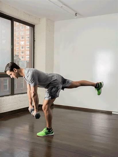 Deadlift Single Dumbbells Workout Own Leg Romanian