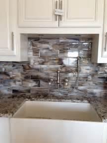 designer backsplashes for kitchens fused glass streaky brown subway tile for kitchen