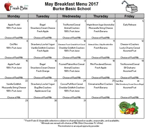 breakfast lunch calendars burke basic school