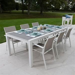 Table extensible alu blanc et verre gris 220/330x106 cm Murray