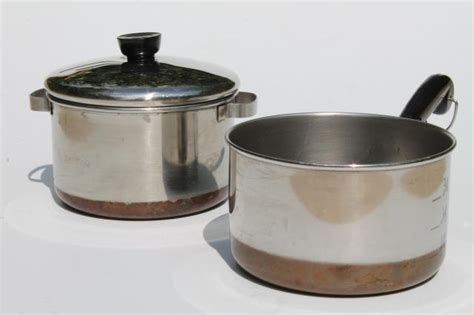 vintage revereware toy kitchen cookware childs size revere ware copper bottom stainless pots