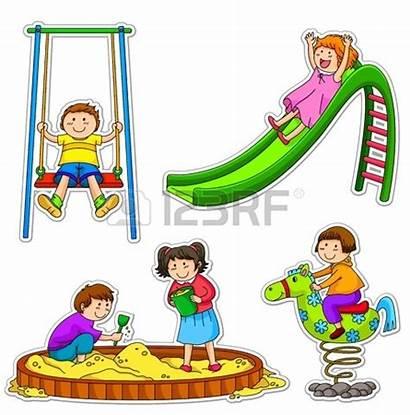 Playground Clipart Children Park Clip Cartoon Happy