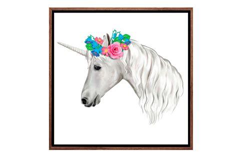 buy unicorn  flowers girls canvas wall art print