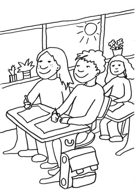 ausmalbild zweite klasse schueler im klassenzimmer
