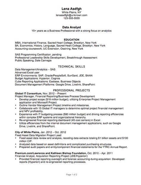 resume exle for a data analyst susan ireland resumes