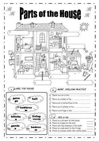 resultado de imagen  worksheets parts   house