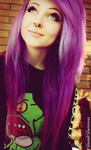 Purple hair and septum piercing   hair   Pinterest   The ...