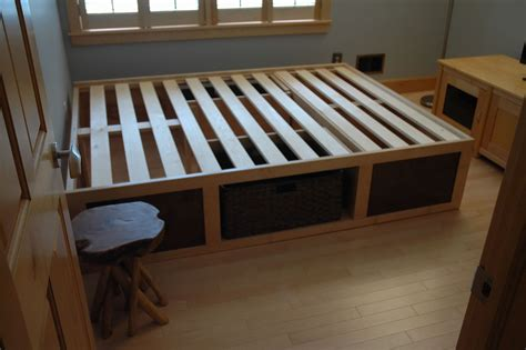 platform bed  storage baskets diy crafts
