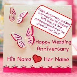 Write name on happy wedding anniversary greeting card for Wedding cards to write name