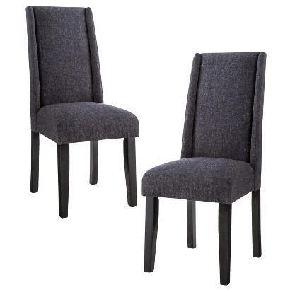 Modern Gray Wingback Armless Dining Chair