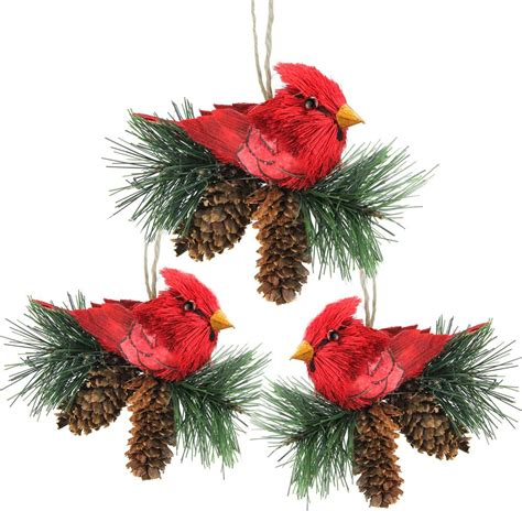 Cardinal Decor - northlight 5 in cardinal birds on pine cones