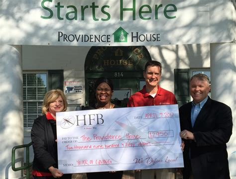 Providence Home Lending by Hfb Gives To The Providence House Home Federal Bank