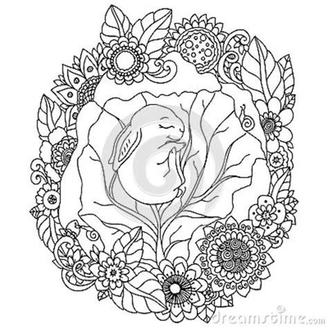 vector illustration rabbit  flower frame doodle drawing