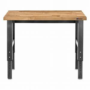 shop gladiator 48 in w x 28 in h adjustable height wood With wood bench legs home depot